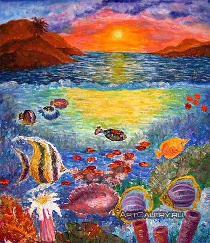 Картина подводный мир живопись море