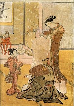 Японская гравюра. Харунобу. Бог счастья Фукурокудзю в цирюльне