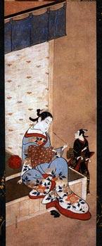 Японская гравюра. Матабэй Иваса. Куртизанка, сидящая на веранде 1716