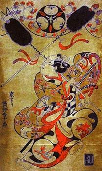 Японская гравюра. Киёнобу. Танец лошади