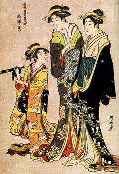 Японская гравюра. Киёнага. В квартале Минами