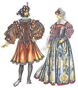 Французский костюм 16 век дублет с